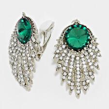 "1.50"" green rhinestone crystal clip on earrings basketball wives non pierced"