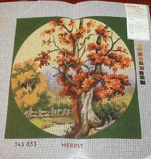 """Vintage Anchor Needlepoint Canvas  """" Autumn ( Herbst)"""" Scene Made in Germany"""