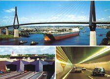 AK, Hamburg, drei Abb., Köhlbrandhochbrücke, Elbtunnel, um 1988