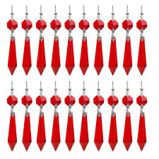 50 Red Chandelier Glass Crystals Lamp Prisms Parts Hanging Drops Pendants 55mm