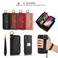 Multifunction Leather Wallet Case Detachable Magnetic Cover For iPhone & Samsung