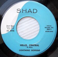 LIGHTNING HOPKINS orig. Shad 45 Hello Central / Mad As I Can Be MINT minus H958