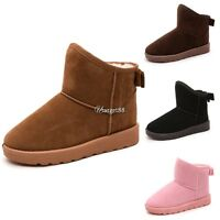 Womens Winter Fur Suede Snow Boots Ankle Flat Boots Warm Flat Shoes  UTAR