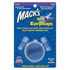 Mack's AquaBlock riutilizzabili tappi per le orecchie 4 NUOTO DOCCIA SURF tappi per le orecchie 1 Paio Chiaro
