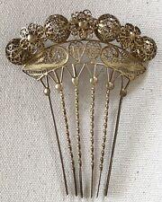 New ListingVtg Victorian Filigree Gold Balls Flowers Hair Comb