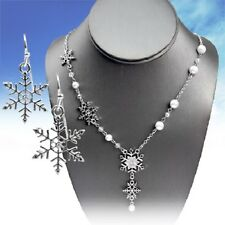 """SNOW SNOWFLAKE WINTER WESTERN COWGIRL JEWELRY CUTE NECKLACE EARRINGS SET 20""""-22"""""""