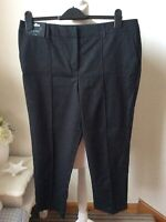 "BNWT NEXT Black Tailored Capri Trousers Size UK 14 Regular L25"" Cropped"