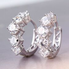 Twinkling white sapphire 18K White gold filled Enchanting Huggie earring
