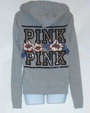 Victoria's Secret Pink Sparkly Bling Graphic Full Zip Hoodie Gray Small (S) NWT