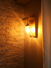 Applique murale Vintage, bois, bocal jare, ampoule E27 led filement jaune
