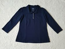 Riders by Lee Women's Navy 3/4 Sleeve Polo Top Size L/XL