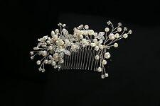 Silver Wedding Hair Comb Pearls Bridal Dress Accessories Rhinestone Headpiece