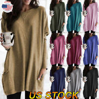 Women Winter Warm Casual Round Neck Loose Pocket T-shirt Top Blouse Sweatshirt