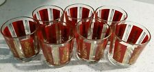 7 Vintage Beautiful Red HighBall Drink Glasses Siam Dancers and Gold Trim