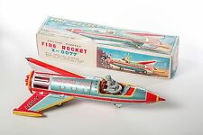 1962 Yonezawa Fire Rocket X-0077 Spaceship Space Toy Vintage Tin Litho Friction