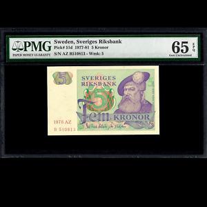 Sweden Sveriges Riksbank 5 Kronor 1978 PMG 65 GEM UNCIRCULATED EPQ P-51d