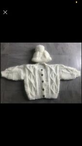 Hand Knitted Aran cardigan & Hat - Age 2-3Yrs… GORGEOUS & BRAND NEW!!!!!!