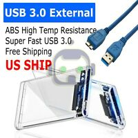 """USB 3.0 2.5"""" SATA Hard Drive External Enclosure HDD Clear Case Durable"""