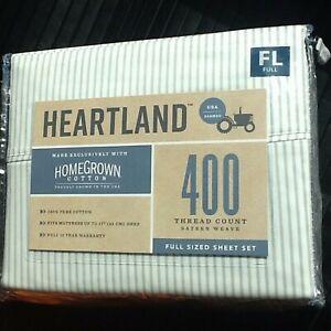 New GRAY STRIPE Heartland 400 Thread Count 100% Cotton Sateen  FULL Sheet Set