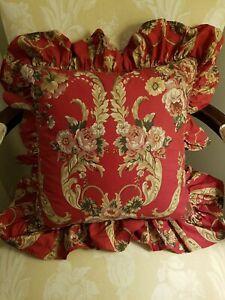 "Ralph Lauren DANIELLE Red Floral 18"" Throw Accent Decorator Down Pillow Ruffle"