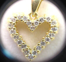 DIAMOND HEART PENDANT 18K YELLOW GOLD .25 TCW w/ 18K CABLE LINK NECKLACE 16.70""