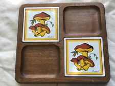Awesome 1960's Goodwood Mushroom Graphic Cheese & Cracker Tray with chain
