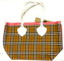 New Burberry Large Giant Reversible Tote Bag Authentic White / Pink / Bright Red