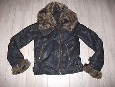 TOPSHOP TALL Fur Collar Black Quilted Wax Biker Aviator Flying Jacket Size 8