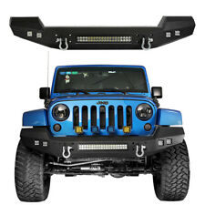 Full Width Front Bumper w/ LED lights & D-Rings for Jeep Wrangler 07-18 JK