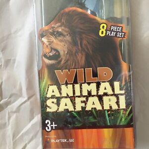"""Wild Animal Safari 8 Piece Plastic Figure Play Set Playtek NWT 6"""""""