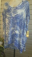 HAWAIIAN TROPIC Blue Floral Oversize Swim Cover Up Tunic Gold Logo NWT$79