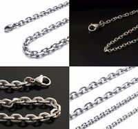 "16"" to 36"" Stainless Steel Mens Womens Belcher Chain Silver Necklace - 4 Widths"