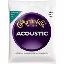 6 X Martin M130 Folk Guitar Silk and Steel Compound Wound Acoustic Strings
