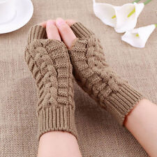 Fashion Unisex Men Women Knitted Fingerless Winter Gloves Soft Warm Wool Mitten