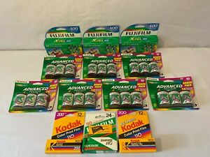 LOT OF 36 NEW SEALED EXPIRED ROLLS 35mm 24mm FUJI FILM KODAK COLOR 110 200 400