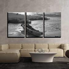 "Wall26 - Wooden Boat by the Bay - Canvas Art Wall Decor - 24""x36""x3 Panels"