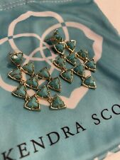 KENDRA SCOTT-Vale Earrings-Turquoise Gold Chandelier- Dangle-Dust Bag NWOT