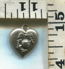 VINTAGE STERLING BRACELET CHARM~#81776~WW2~PUFFY HEART~MARINES~GLOBE AND ANCHOR