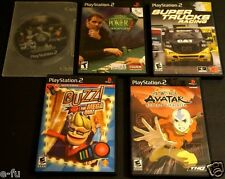 PS2 Five (5) Video Game Lot AVATAR BUZZ MEGA QUIZ POKER 2 Getaway SUPER TRUCK
