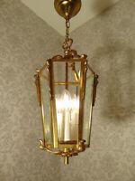 antik  Laterne Kronleuchter Lüster Bronze Messing  Glas Frankr. ca. 1900