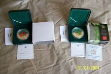 CANADA $5 COLOURED MAPLE LEAF 1 oz SILVER .9999 COINS CAPSULED w/CASES (2 COINS)