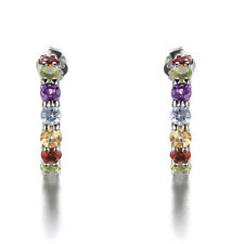 Genuine Garnet Amethyst Peridot Topas Ohrstecker Ohrring 925 Stering Silber