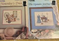 Leisure Arts Sewing Seamstess Theme Cross Stitch Charts Lot Of 2