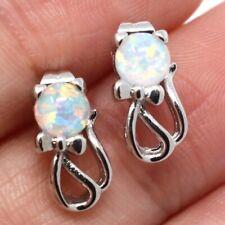 Antique Vintage White Opal Cat Earrings Women Girl Birthday Wedding Jewelry Gift