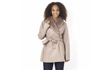 Dennis Basso Faux Leather Removable Shawl Collar Coat Taupe Size XXL LF076 LL 04