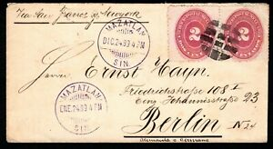 Mexico 1889 cover to Berlin with pair 1886 2c with dumb cancel + Mazatlan cds