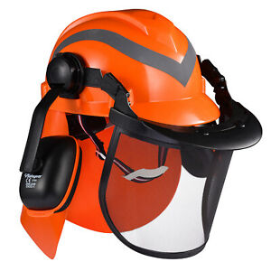 SAFEYEAR Hard Hat With Visor&Ear Defenders Safety Helmet Forestry Protect Neck