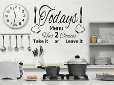 TODAYS MENU - Kitchen Wall Art Sticker/decal - NEW - ideal for Cafe, restaurant