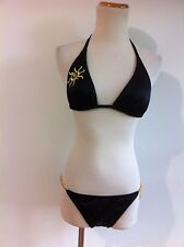 Victoria's Secret Bikini Black w/Embroidered Gold Sun & Gold Metal Charms Size S