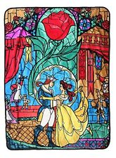 "Disney Beauty & The Beast Stained Glass Super Plush 45""x60"" Throw Blanket"